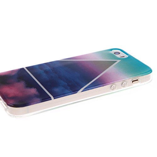 """SsHhUu iPhone 5s Coque, Unique Letter Style Design Ultra Slim Doux TPU Flexible Durable Gel Silicone Protecteur Rear Skin Painting Art Étui Housse Case Cover Pour Apple iPhone 5 5s 4.0"""" Cloud coloré"""