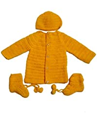 BabyBlossom Baby Boy s and Baby Girl s Woollen Sweater Set with Cap and  Socks (Yellow 87bae7a6f