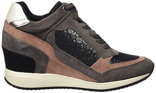 Geox D Nydame A, Sneakers Hautes Femme Grau (Black/DK GREYC0005)