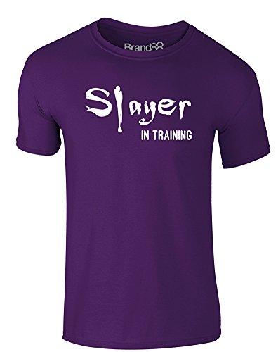 Brand88 - Slayer in Training, Erwachsene Gedrucktes T-Shirt Lila/Weiß
