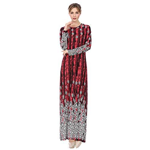 CixNy Damen Kleider Röcke Islamischen Arabisch Sommerkleider Strandkleid Sommer Muslimisch Arabischen Islamischen Nahen Osten Ethnic Print Langarm Abaya Abendmode Tüllkleid (Rot, ()