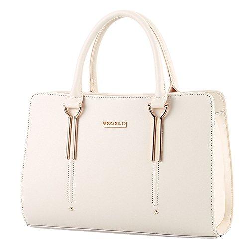 fanhappygo Fashion Retro Leder Damen Schulterbeutel Umhängetaschen Stereotypie Mode Handtaschen Schulter Kurier Handtaschen weiß