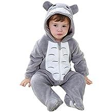 Kigurumi Mameluco Pelele para Bebé de 6-12 Meses - Traje Disfraz Infantil de Animal para Otoño / Invierno Pijama con Capucha - Costume de Gato Gris