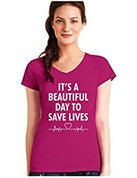 Green Turtle Camiseta de Cuello V para Mujer - Its a Beautiful Day To Save Lives