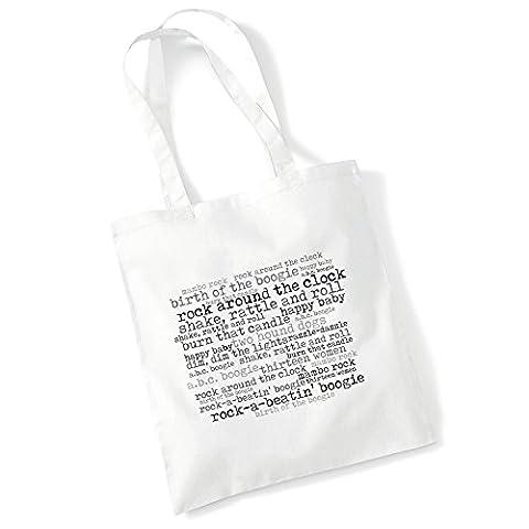 Art Studio Tote Bag - BILL HALEY AND HIS COMETS - Rock Aroud The Clock - '56 Continental - Music Lyrics Album Art Print Poster Beach Gym Festival Shopper Gift