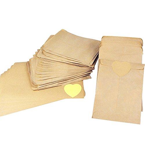 HY 100pcs 12 * 18cm Pochette Sac Sachet en Kraft Papier Mini pour Bonbons Graines Cadeaux Enveloppes Bijoux+10Feuilles 120pcs(4.5 cm) Kraft Papier Autocollant (A)