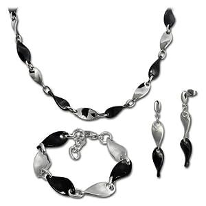 Amello Edelstahlschmuckset Keramik schwarz bestehend aus Kette, Armband, Ohrring, Stainless Steel Schmuckset ESSX08S