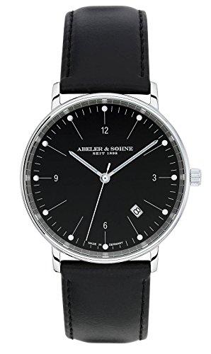 Abeler & Söhne Reloj de hombre fabricado en Alemania con cinta de piel, cristal de zafiro y fecha as1143