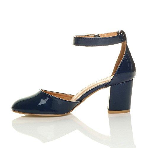 Damen Mitte Blockabsatz Knöchelriemen Schnalle Elegant Pumps Sandalen Größe Dunkelblau Lack