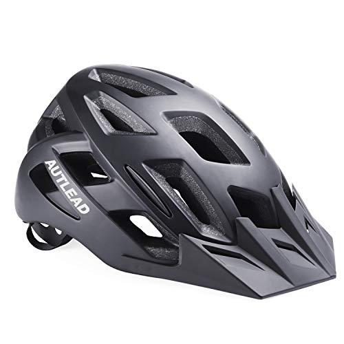 AUTLEAD Casque Vélo de Protection avec LED témoin et visière Amovible, Taille réglable(58-61cm),...