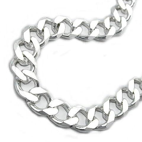 Bracelet hommes curb chain large réservoir 6 fois en coupe de diamant argent 925 longueur 21 cm largeur 6,5 mm x 2 mm