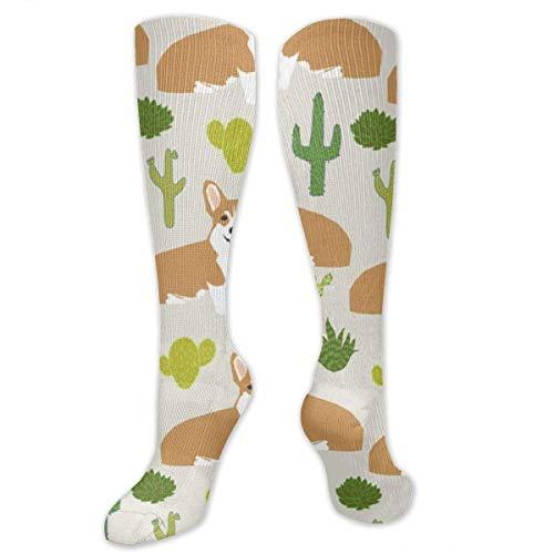 Eybfrre Corgi with Cactus 3D Knee High Graduated Compression Socks for Men Women Boys Girls Kids - Stockings for Running/Medical/Diabetic/Swelling/Pregnancy/Nurse - Haltung Compression Short