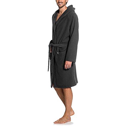 Maat Mons Herren Bademantel in grau | weicher Herrenbademantel aus Frottee | Morgenmantel mit Kapuze | Saunamantel mit Gürtel und Tasche | Größe L/XL