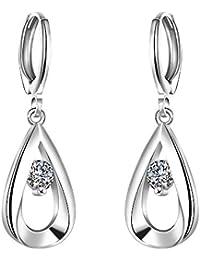 Fajewellery Pendientes Plata 925 Mujer Forma de Lagrima Circonio Cubico Pendientes