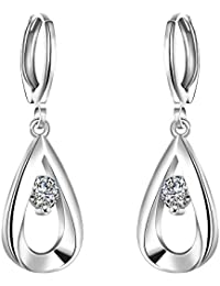 Fajewellery Damen 925 Silber Swarovski Element-Kristall Teardrop Solitär Zirkonia Scharnier Ohrringe