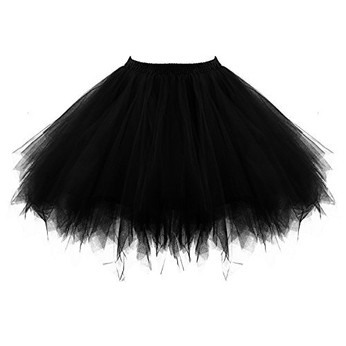 Tutu Damenrock 80er Jahre Neon Tütü Damen Rock Tüllrock Petticoat Pettiskirt 50er Vintage Tutu Kurze Ballet Rock Tanzkleid Unterrock Unterkleid Pink für Frauen Erwachsene 1980s Fancy Dress (Black)