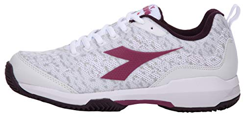 Diadora - Scarpe da Tennis da Donna Speed Shot W Clay, Colore: Bianco/Lampone, Bianco (White/Boysenberry), 37 EU