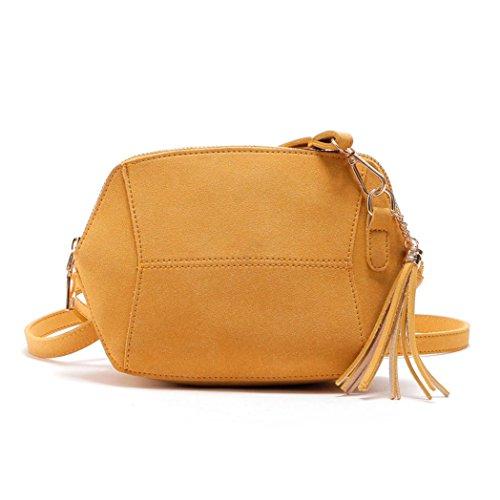 Xjp Damen Modische und einfache Design Leder Schultertasche Crossbody Taschen mit Quasten Gelb