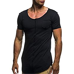 T-Shirts,Honestyi 2018 Neueste Modell Herren Klassisches Basic T-Shirt Einfarbig Gemütlich Kurzarm-Shirts Yoga T-Shirts mit Rundhalsausschnitt Sweatshirts Blusen Oversize M-XXXL (M, Schwarz)