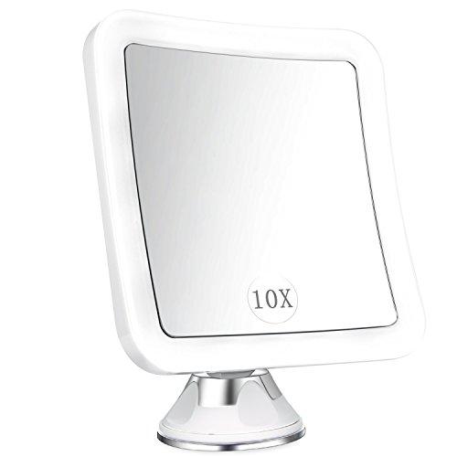 Elfina specchio ingranditore da trucco con luce led, specchio cosmetico illuminato ingradimento 10x, con potente ventosa, ruota di 360°, perfetto come regalo da bagno