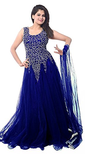 Aarvicouture Womans Net Designer Party Wear Blue Anarkali Salwar Suit  available at amazon for Rs.549
