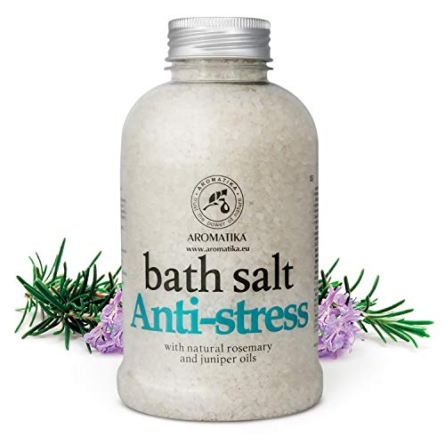 Badesalz Anti Stress - Meersalz mit Natürlichem Ätherischen Rosmarinöl und Wacholderöl - Natur am Besten für Guten Schlaf - Baden - Körperpflege -Wellness - Entspannung - Spa - Badezusatz