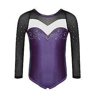 65c70e67c Molliya Girls Gymnastics Leotard long sleeve One-Piece Sparkly ...