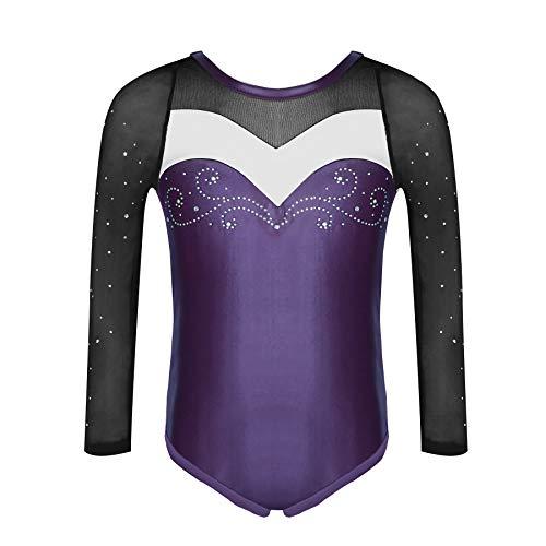 Molliya Mädchen Gymnastikanzug Trikot Bunter Bedruckter Lange ärmel Tank Gymnastikanzug für Gymnastik Tanzen Costume,Lila,150cm / 9-10 Jahre (Trikots Turner)