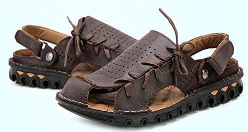 Dayiss® Herren Jungen Leder Sandalen Sport- & Outdoor Schuhe Sandaletten Dunkelbraun