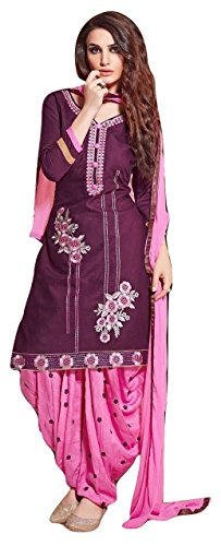 Shalibhadra purple color top with pink color duppata and pink color salwar cotton unstitched fully heavy Embroidered work patiala suit pataliya dress material for women