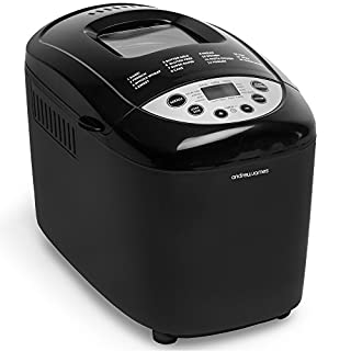 Andrew James Bread Maker   Dual Blade with 15 Functions Including Gluten Free Program Delay Timer and Keep Warm Functions   850W   Black