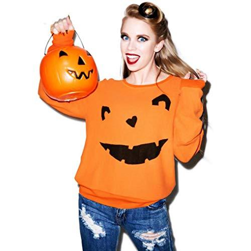 VEMOW Heißer Herbst Damen Frauen Halloween Kürbis Print Lässige Tägliche Party Cosplay Langarm Sweatshirt Pullover Tops Bluse Shirt(Orange, EU-36/CN-S)