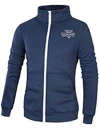 25ae5972ede7 semen Herren Sweatjacke ohne Kapuze Strickjersey Zip-Jacke Reißverschluss  mit Kragen Sport Jacke Stehkragen Low…