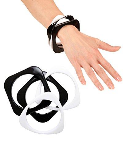 Preisvergleich Produktbild 4 Stück ARMREIFEN - DISCO - schwarz weiß, Trendschmuck Modeschmuck Ringe Halsketten Ketten 60er 70er Jahre Flower Power Woodstock Festival