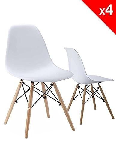 KAYELLES Chaises Design NEO, style DSW, Lot de 4 chaises de Cuisine, Salle à Manger, Piétement en hêtre (Blanc)