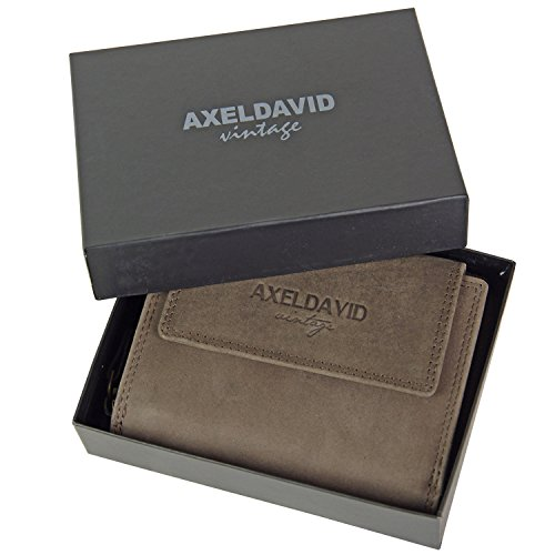 AXEL DAVID Leder Geldbörse MADRAS Geldbeutel Damen Börse Ledergeldbörse Portemonnaie Braun Damen-madras