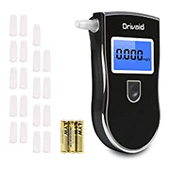 Idea Regalo - Drivaid Etilometro Portatile Digitale, Alcool Test Professionale con Schermo LED Display, Breath Analyzer incluir 20 Boccagli, 3 x batterie AAA incluseSensore Semiconduttore