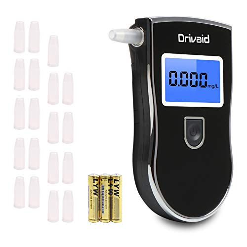 Drivaid Etilometro Portatile Digitale, Alcool Test Professionale con Schermo LED Display, Breath Analyzer incluir 20 Boccagli, 3 x batterie AAA incluseSensore Semicondutto