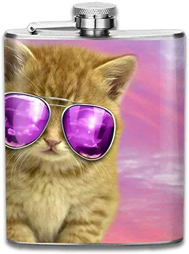 Eybfrre Edelstahl-Flachmann, ca. 200 ml (ohne Trichter), Cool Cat