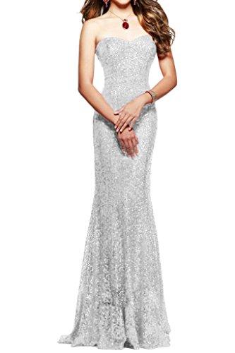 Milano Bride Damen Traegerlos Mermaid Lang Abendkleider Pailletten Festkleider Sexuell Kleider Figurbetot Silber