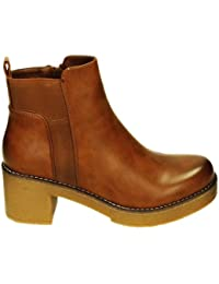2bd23931a81f15 King Of Shoes Damen Stiefeletten Ankle Boots Plateau Stiefel Schuhe 74