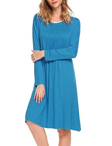 Hotouch donna camicie da notte manica lunga in pizzo comodo semplice pigiami vestaglia accappatoi camicia da notte scollo a u blu xxl