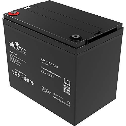 Offgridtec AGM Solar Batterie für zyklische Anwendungen, 75,6 Ah / 12 V, 001003