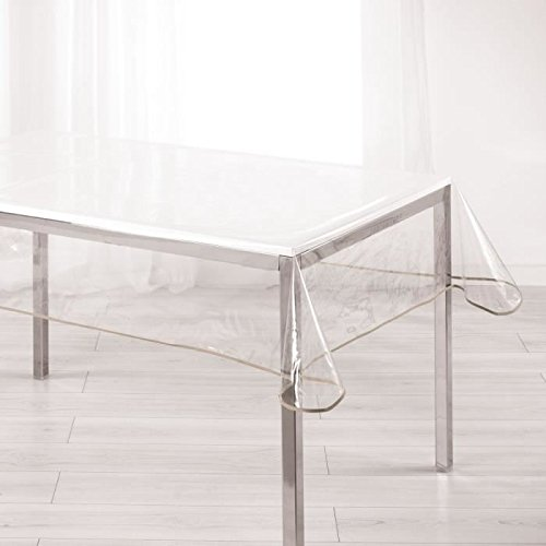 Ligne Décor Nappe cristal rectangle 140 x 240 cm PVC uni Garden/biais taupe