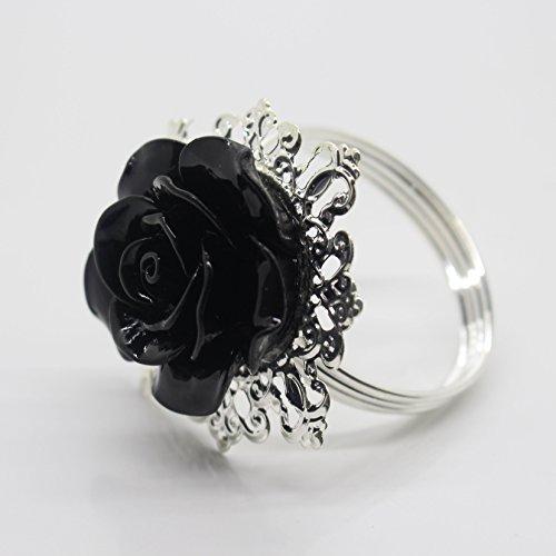 10pcs Schwarz Rose Dekoration Silber Serviette Ring Serviettenhalter für Hochzeit Party Abendessen Tabelle Decor viele Farbe erhältlich (Silber Schwarz Und Serviettenringe)