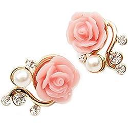 Vktech 1 Paar Süß Damen Perlen Rosen Ohrstecker, Rosengold Blumen-Ohrringe, Rosengold Modeschmuck (Rosa)