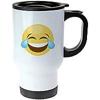 Tazza Termica – Tazza isolante in acciaio inox - con Emoji stampa–Lacrime di gioia - Termica viaggio decorata con emoticon– 250 ml