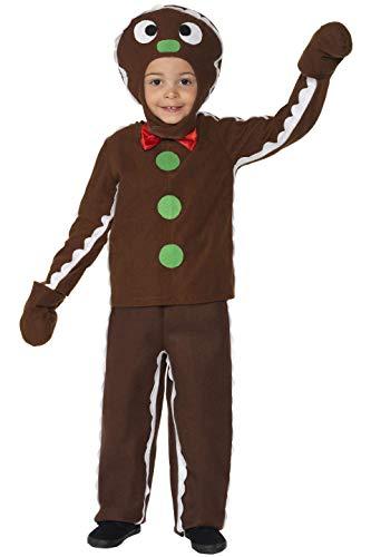 Smiffys, Kinder Jungen Lebkuchenmann Kostüm, Oberteil, Hose und Kopfteil, Größe: M, 35939 (Lebkuchen Kostüm)