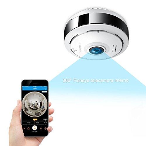 Fredi hd 960p fisheye wifi telecamera sorveglianza interno senza fili ip camera videocamera di sorveglianza telecamera ip wifi 360° con audio, sensore di movimento, 15m visione notturna
