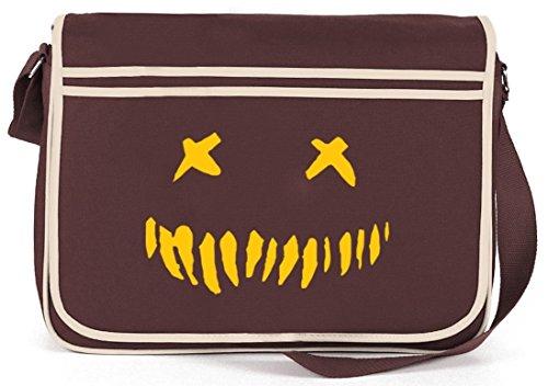 Shirtstreet24, Halloween - Horror Face, Grusel Retro Messenger Bag Kuriertasche Umhängetasche Braun